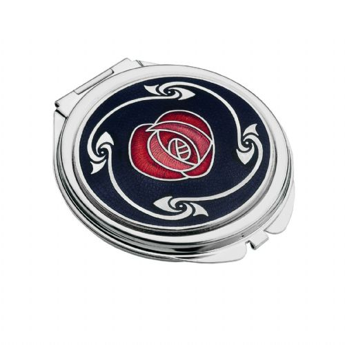 Compact Mirror Silver Plated Mackintosh Rose Handbag Magnifying Travel Cosmetic